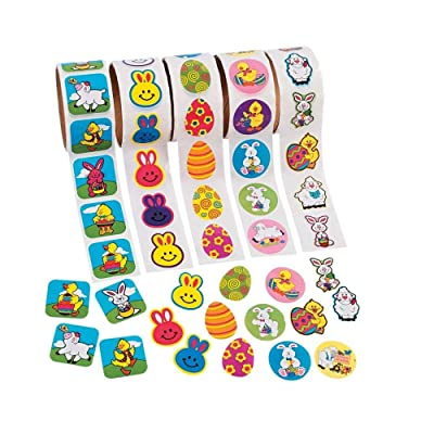 500-Count Kid-Friendly Easter Stickers, Assorted Colors and Designs: Toys & Games