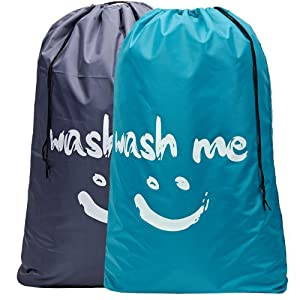 HOMEST 2 Pack 28''x40'' Wash me Large Travel Laundry Bag Drawstring Closure Machine Washable Dirty Clothes Bag, Light Blue and Grey