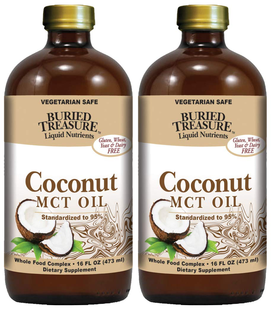 Buried Treasure Natural Liquid Nutrients Coconut MCT Oil (Pack of 2) Vegetarian Safe, 16 Fl. Oz. Each