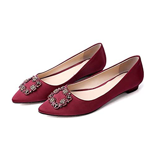 450bfb462243 Image Unavailable. Image not available for. Color  BCOW Square Buckle Diamond  Flat Bottom Shoes ...