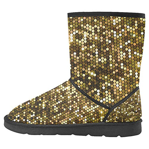 Designed Sparkle Gold Boots Multi Winter Snow 1 Comfort InterestPrint Womens Glitter Boots Unique Iw4zCw8q