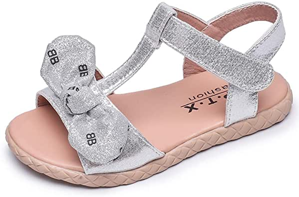 LB LAWBUCE Toddler Little Girls Glittery Sandals Baby Girls Bow Princess Summer Dress Shoes