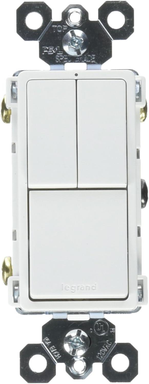Legrand radiant Combination Switches, Rocker Wall Light Switch, White, Single-Pole + Single-Pole + 3-Way Switch, RCD113WCC6