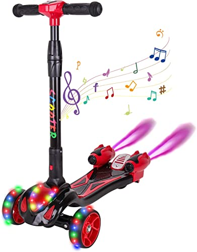 CXMScooter Kick Scooter 3 Colors Flashing Wheel Rocket Scooter with Music LED Spray Lights Jet Scooter