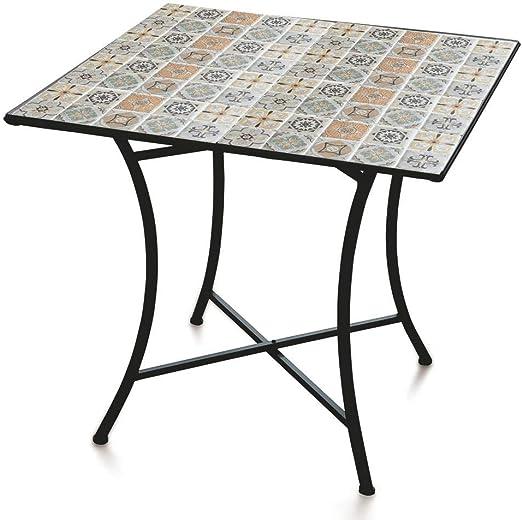 soriani - Mesa de jardín Cuadrada 83 x 83 cm de Hierro con Mosaico Rodi: Amazon.es: Hogar