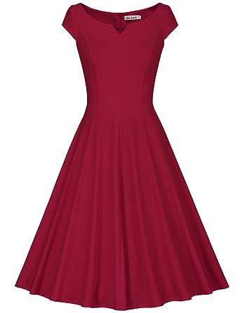 3d884abf652 Amazon.com  MUXXN Women s 50s Vintage Elegant Boat Neck Bridesmaid Swing  Dress  Clothing