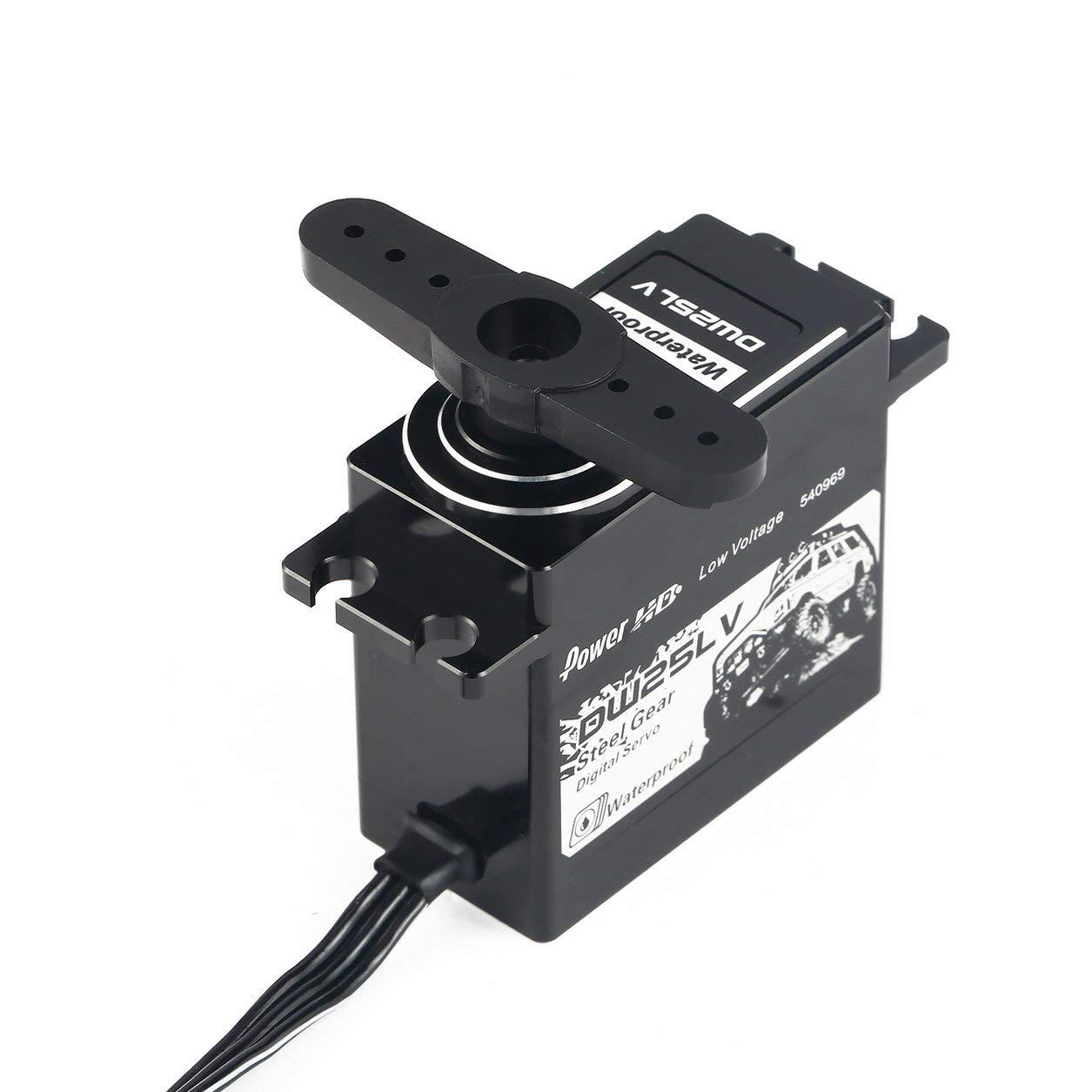 パワーHD DW-25LV防水メタルギアデジタルコアレスサーボ(25kg高トルク/ 1/10 RCリモートコントロールカーボート用)(カラー:ブラック) B07HXQNJTG