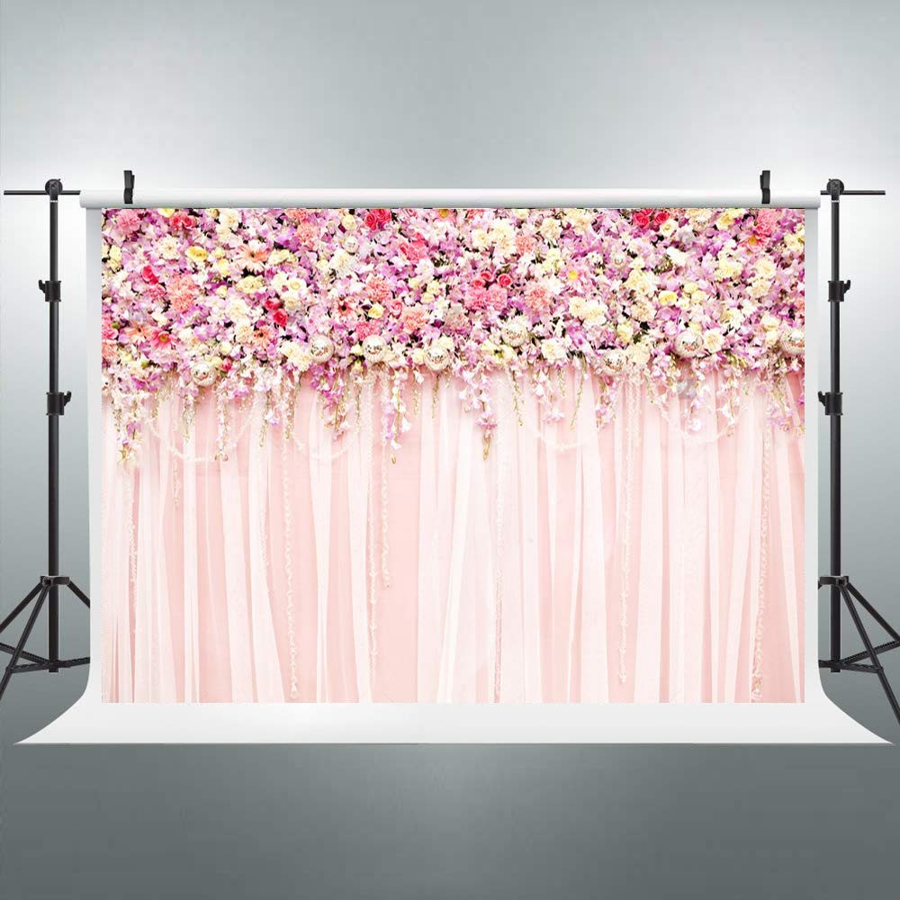 Riyidecor Bridal Floral Wall Backdrop Romantic Rose Flower Photography Background Pink and White Carpet 7Wx5H Feet Decoration Wedding Props Party Photo Shoot Backdrop Blush Vinyl Cloth by Riyidecor