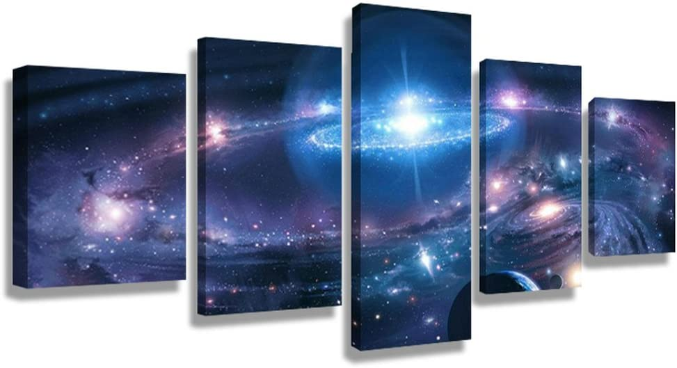 5 Panel Modern Abstract Wall Art Dark Universe Photo Canvas Prints Galaxy Colorful Space Star Canvas Oil Painting for Bedroom Decor (40