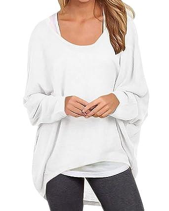8b9e2a452c751 Yidarton Womens Summer Sweater Casual Shirts Oversized Baggy Off-Shoulder  Long Sleeve Tops White S