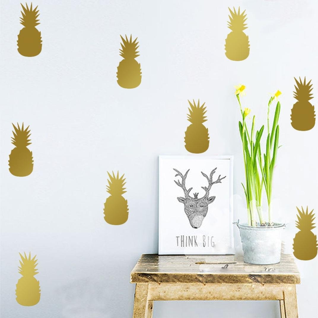 Home Décor Usstore 1PC Cute Pineapple Decals Decoration For Bedroom living bathroom House Shop Office Windows Decor Ornament (Gold)