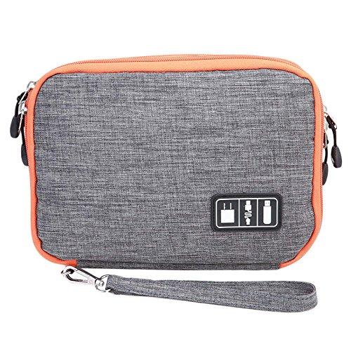 Electronics Organizer - Waterproof Double Layer Cable Storage Bag Electronic Organizer Gadget Travel Bag USB Earphone Case Digital Organizador PC876982 - Travel Toiletry Bag (L grey) by HarvinStore