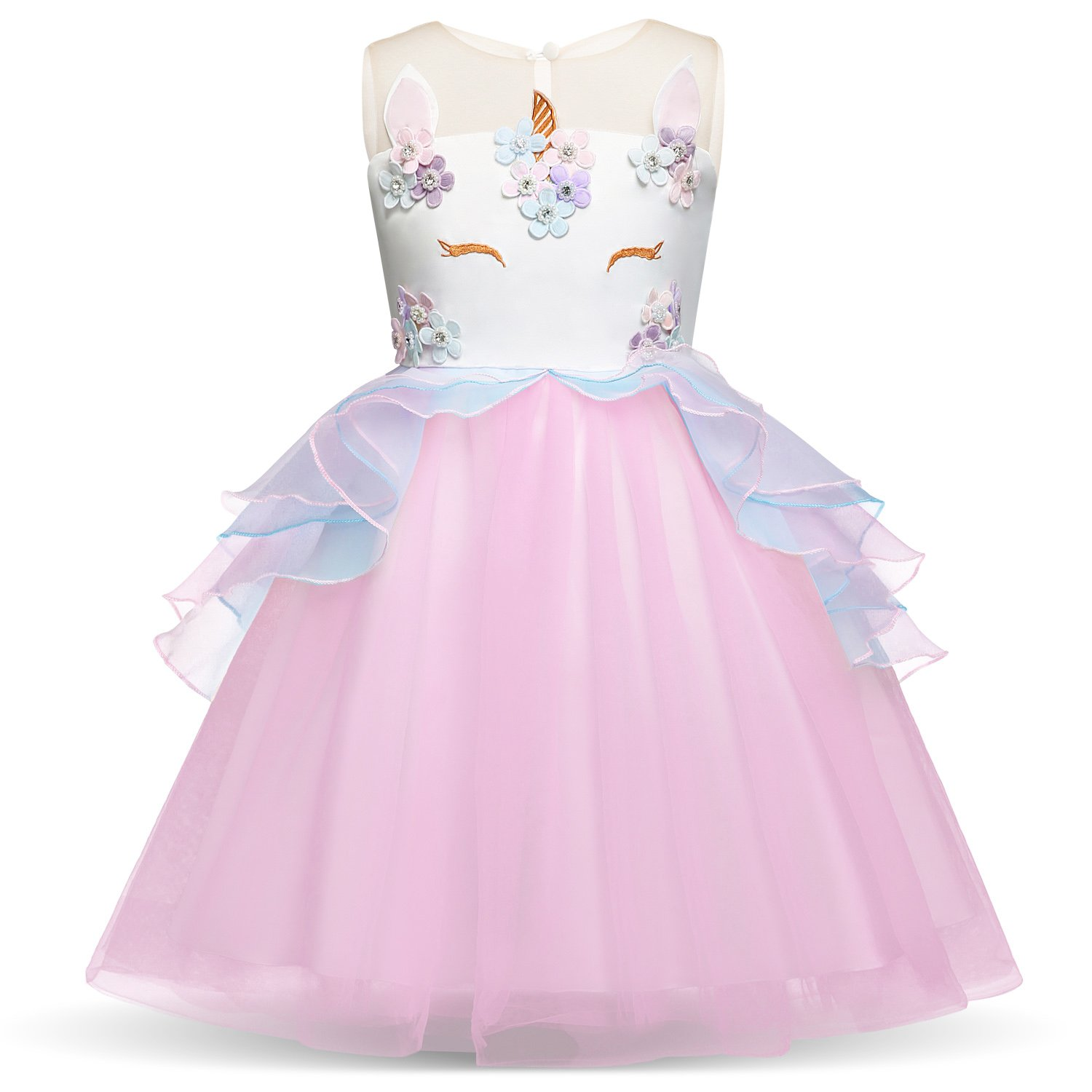 HUANQIUE Girls Dress Pageant Party Birthday Dresses Ball Gowns