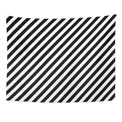 (Emvency Tapestries Print 60x80 Inches Abstract of Black and White Diagonal Lines Geometric Graphic Modern Retro Wall Hangings Home Decor)