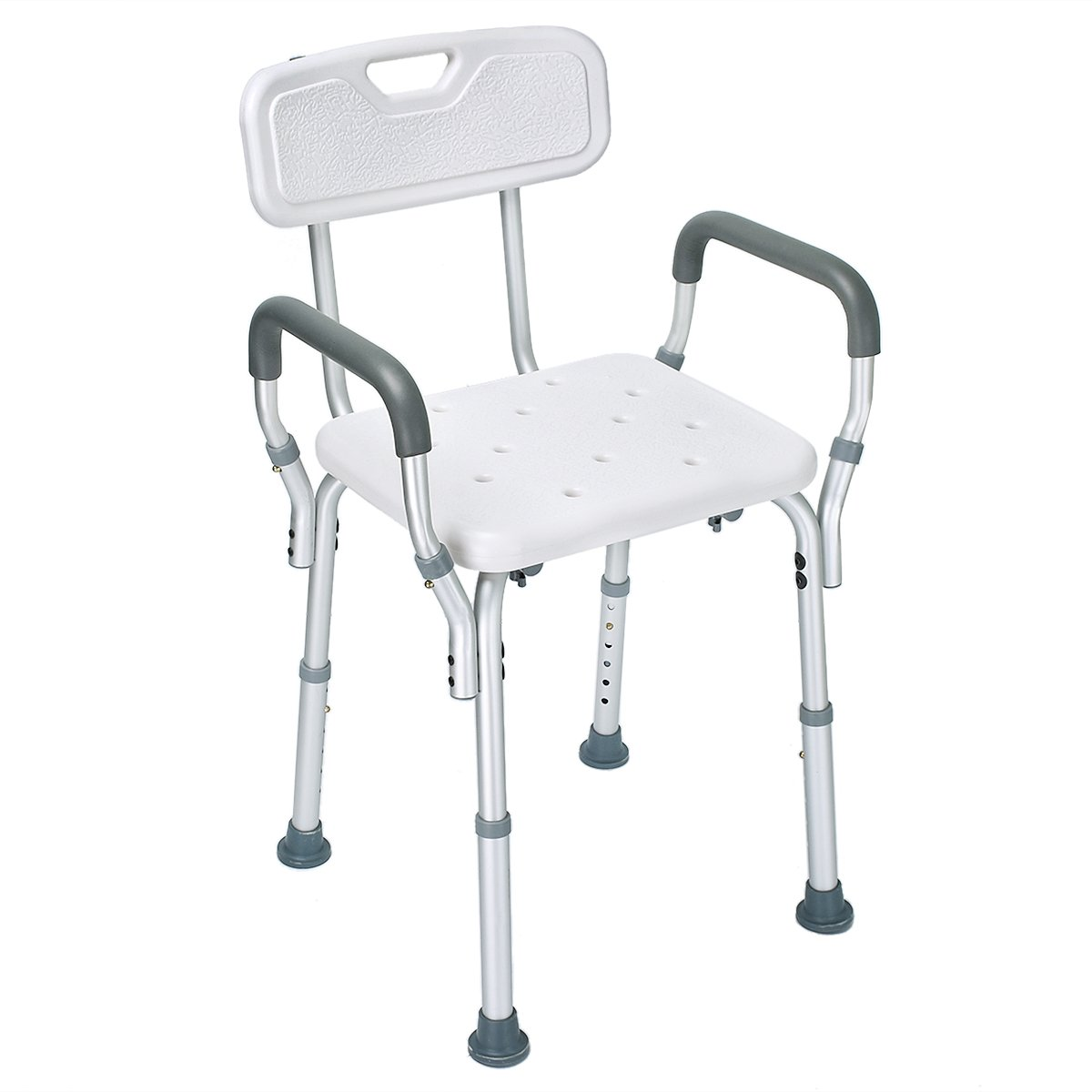 Healthline Bath Shower Chair Bench Stool Adjustable Height with Removable Back and Arms