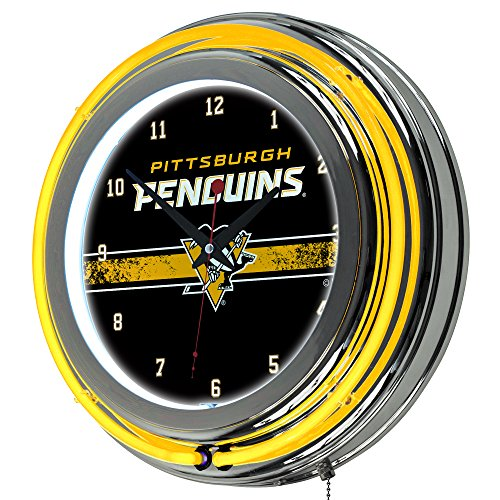 Pittsburgh Penguins Glass - Trademark Gameroom NHL Pittsburgh Penguins Chrome Double Rung Neon Clock