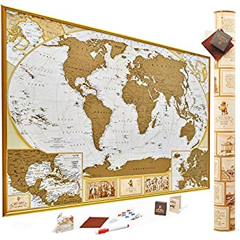 Amazon maps international scratch the world travel map antique edition gold scratch off world map very detailed 10000 cities big size 35x25 inches us states outlined unique tool set glossy finish travel gumiabroncs Gallery