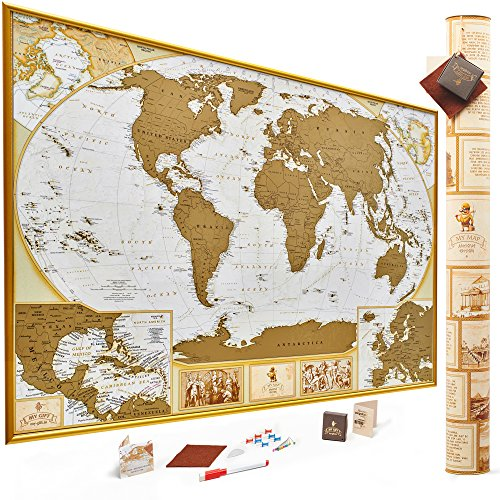 MyMap Antique Gold Scratch Off World Map, Very Detailed -10.000 Cities, 35x25 Inches, US States Outlined, Includes Pins, Buttons and Scratcher, Glossy -