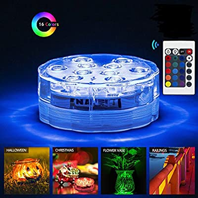 Super Bright Submersible LED Light 16 Colors Changing Waterproof Remote Control LED Lights For Party, Garden, Vase Base, Aquarium, Pond, Crystal Glass, Halloween and Christmas