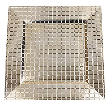 Fantastic:)® 6pcs/Set Square 13 x13  Sepcial Design Charger Plates (Grid Gold, Set of 6)