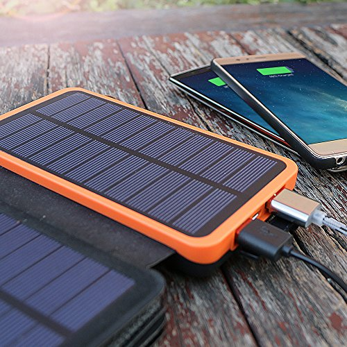 X-DRAGON Solar Charger, 20000mAh Solar Power Bank with 4 Solar Panels, Dual USB, LED Flashlight Waterproof Portable External Battery Backup for iPhone, Cell Phones, ipad and More-Orange by X-DRAGON (Image #6)