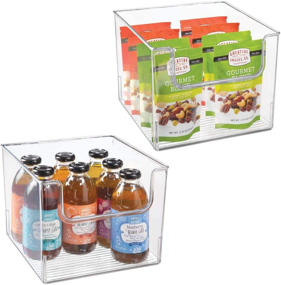mDesign Plastic Open Front Food Storage Bin for Kitchen Cabinet, Pantry, Shelf, Fridge/Freezer - Organizer for Fruit, Potatoes, Onions, Drinks, Snacks, Pasta - 10