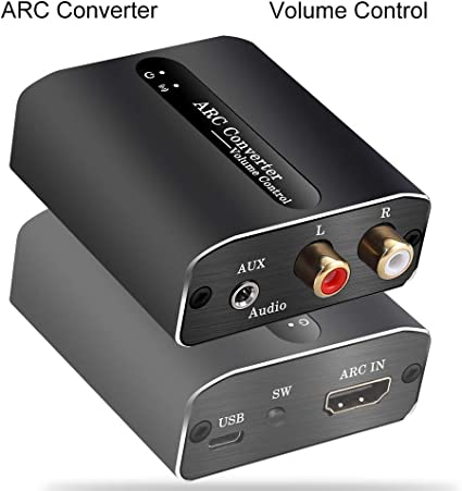 Compatible for Sound Bar Tiancai ARC Adapter for R//L and 3.5mm Jack,with Remote Control Function Headphone etc,Support Multi-Ports Output Simultaneously HDMI ARC to Analog Audio Converter