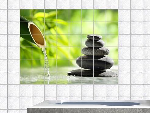 Graz Design 761739_20x25_90 Fliesenaufkleber Fliesen Folie Bad Küche  Fliesensticker Wellness Bambus Entspannung WC Badezimmer Fliesengröße  20x25cm