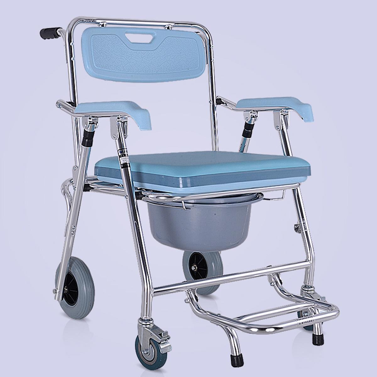 SHKD Folding chair Old Man Wheeled Commode/Over Toilet Chair with ...