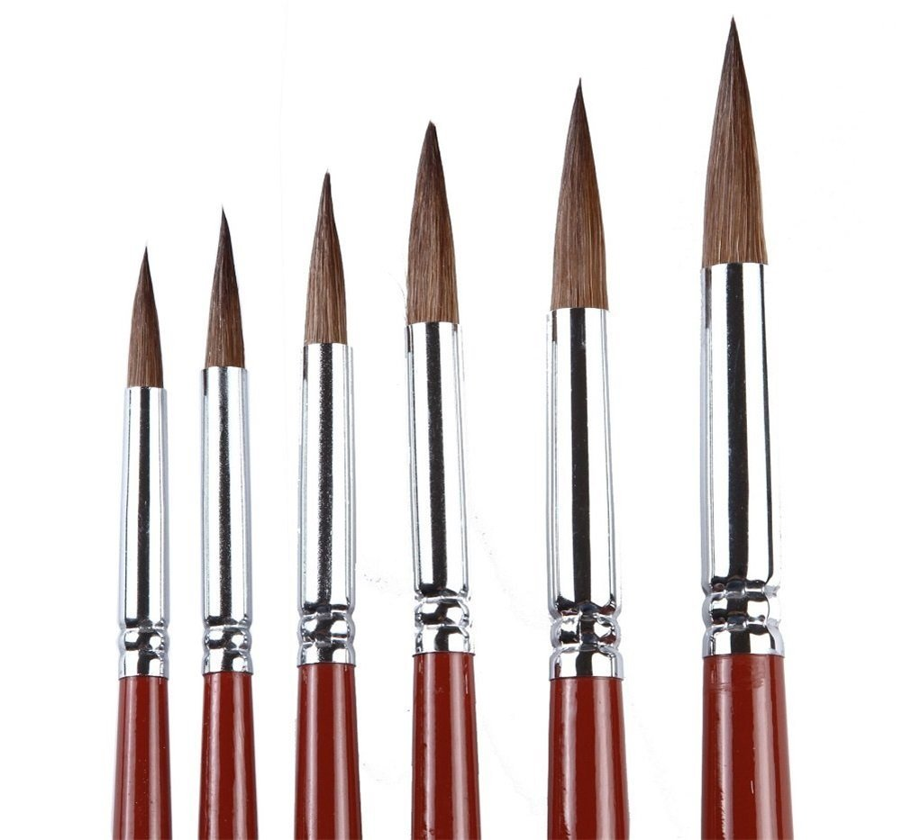 Fuumuui Watercolor Paint Brushes 7pcs Premium Sable Hair Round Pointed Tip Paint Brushes Perfect for Watercolor Gouache Ink Acrylic Paint by Numbers