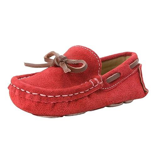 Phorecys - Mocasines de Ante para Niño, Color Rojo, Talla 25 EU: Amazon.es: Zapatos y complementos