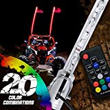 OLS 6ft LED Whip Lights w/ Flag [21 Modes] [20 Colors] [Wireless Remote] [Weatherproof] Lighted Antenna Whips - Accessories for ATV Polaris RZR 4 Wheeler