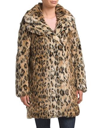 1b33ddf3951b Karen Millen Leopard Print Faux Fur Coat (Medium) at Amazon Women's ...