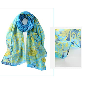 Pollusui Bufanda Larga de Seda Mulberry Seda Protectora Impresión de Playa Toalla de Playa Bufandas Rosas (Color : Green, Size : 180cm*110cm): Amazon.es: ...
