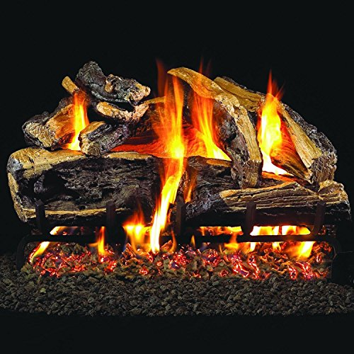 Charred Split Vented Natural - Peterson Real Fyre 18-inch Charred Rugged Split Oak Gas Log Set Vented Natural Gas ANSI Certified G46 Burner - Variable Flame Remote