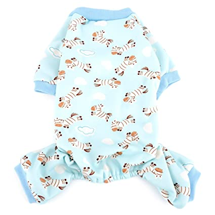 Ranphy estampado de cebra pequeño perro gato pijamas acogedor pijama pjs trajes de perro ropa de