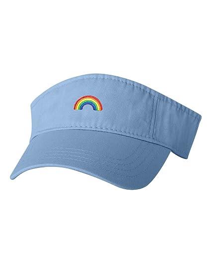 0b0ea80cbc3 Amazon.com  Adjustable Baby Blue Adult Rainbow Embroidered Visor Dad ...