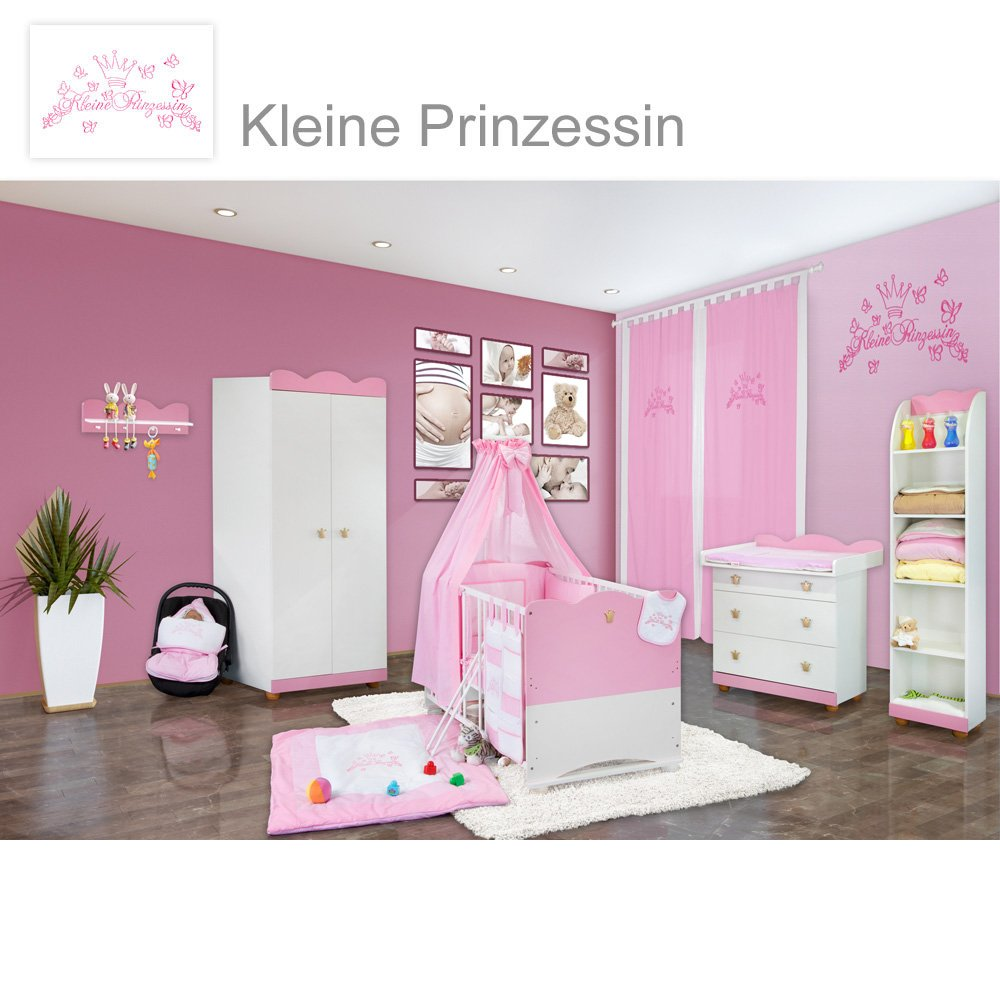 Babyzimmer 23-tlg. Kleine Prinzessin inkl. Wandregal, Standregal ...