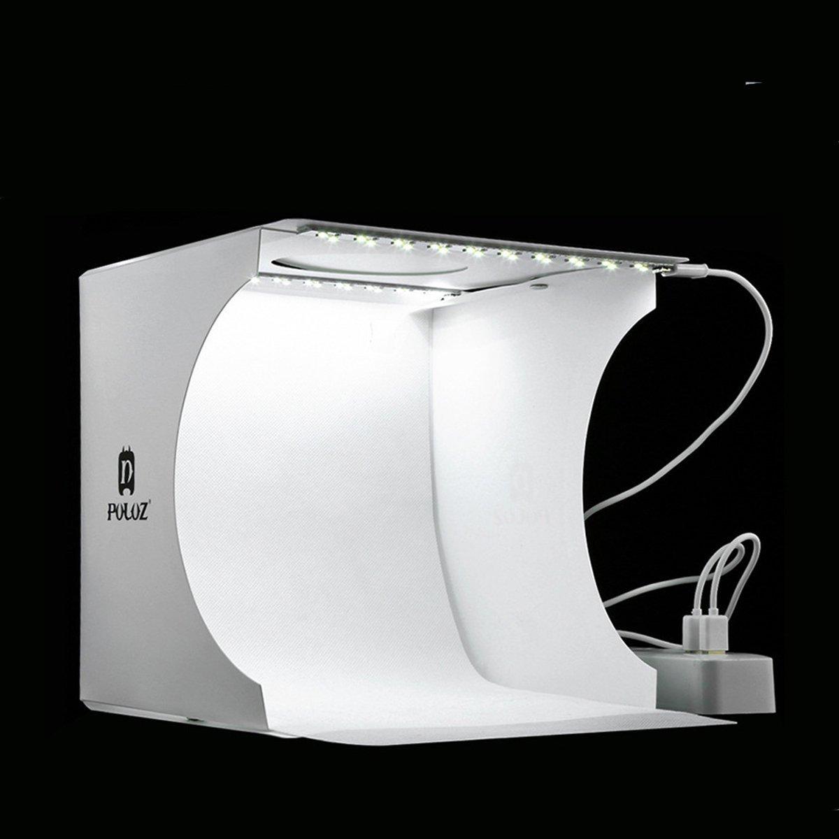 con luci LED set con 6 colori di sfondo per fotografia 2 strisce LED bianche da 6000 K Jhs-Tech Mini tenda da studio fotografico pieghevole