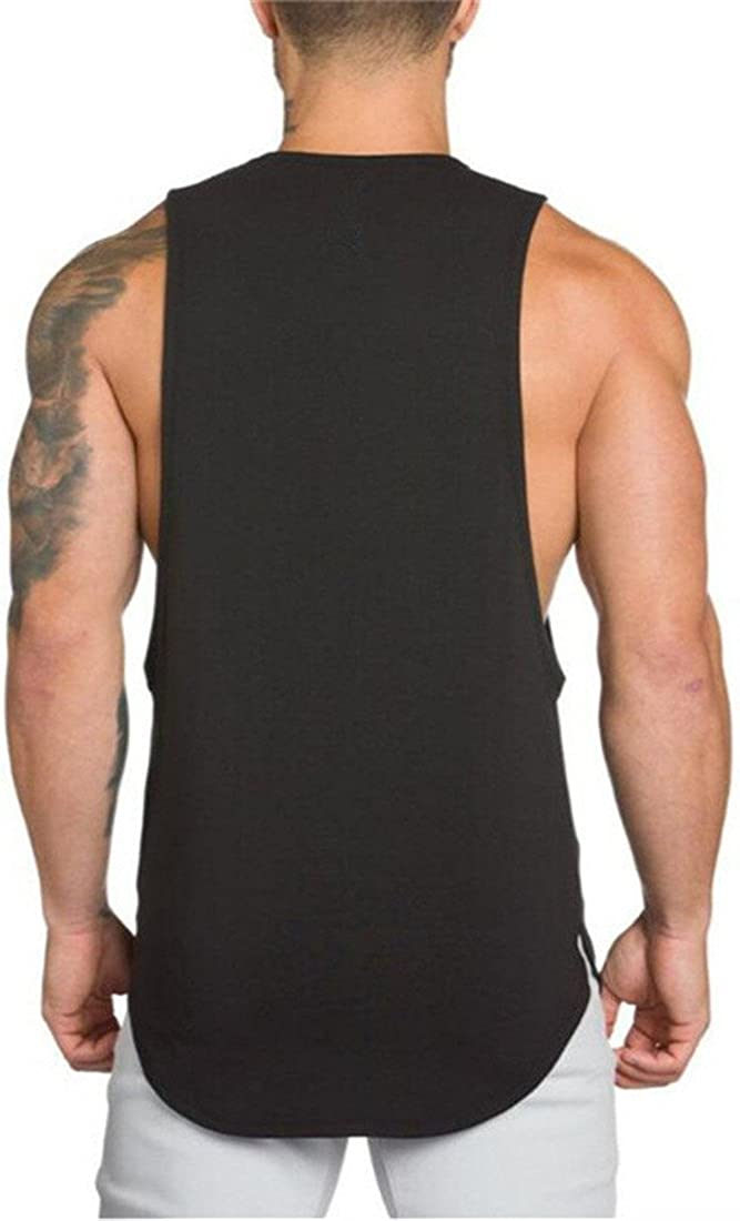 YeeHoo Mens Fitted Muscle Stringer Vest Cut Open Sides Workout Tank Tops Gym Bodybuilding T-Shirts
