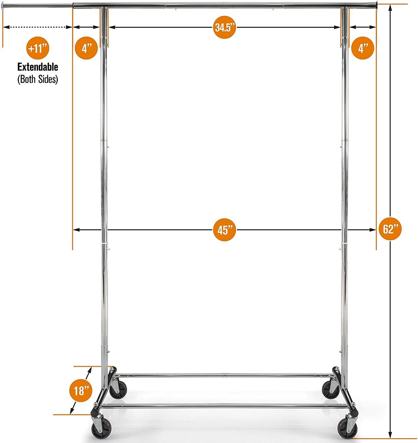 Chrome Clothing Rail 200 LBS Capacity Clothes Rail for Clothing Clothes Rack Heavy Duty Commercial Grade Garment Rack Adjustable Clothing Rack