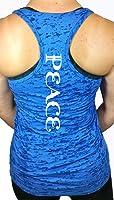 Shine Athletica Women's Yoga Tops - Peace Workout Fitness Burnout Racerback Yoga Shirts