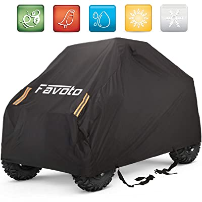 Favoto UTV Cover, Waterproof Oxford, 114 x 59 x 74.8 inches, with 4 Night Reflective Stripes and Carrying Bag, Dust Sun Wind Rain Leaves Outdoor Protection, Universal Fit 4 Wheeler Vehicle Cover: Automotive