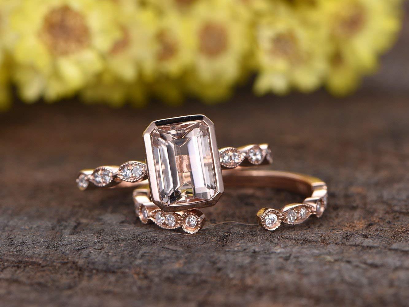 Marquise Moissanite Engagement Ring White Gold Over Bridal Set 2pcs Antique Art Deco Wedding Band Women Matching Moissanite Rings Stacking
