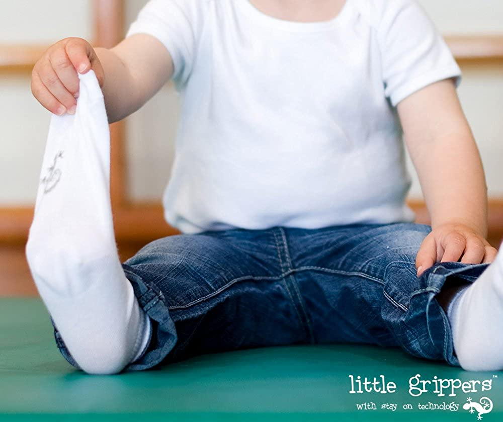 Cream STAY ON Baby Socks 3 Pairs with Stay On Technology from Little Grippers