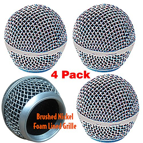 Performance Plus SM58 Style Brushed Nickel OEM Replacement Microphone Grille Pack Of 4 (M58S-4)