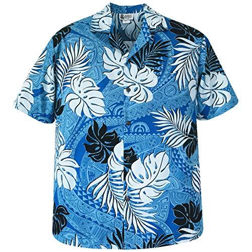 Medium Blue Limited Tapa Tattoo Hawaiian Shirt Made in Honolulu Hawaii USA ()