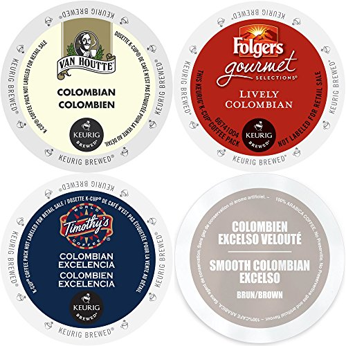 Colombian Roast K-Cup Coffee 96 Count Variety Pack - Folgers Lively Colombian, Van Houtte Colombian, Faro Smooth Colombian, and Timothy's Colombian Excelencia, Keurig 2.0 K-Cup Sampler