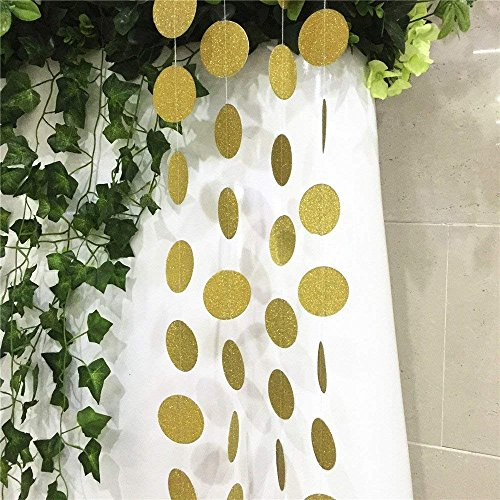 Dots Circle Little - SS Cohen 4 Packs 52 Feet Gold Circle Dots Glitter Paper Garland Party Decorative Paper Circle Dots Hanging String for Birthday Wedding