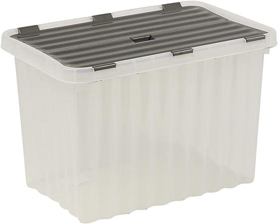 Caja de almacenamiento de plástico gris con bisagras tapa diseño de ondas calidad apilable Contenedor, plástico, 25L [Set of 2]: Amazon.es: Hogar